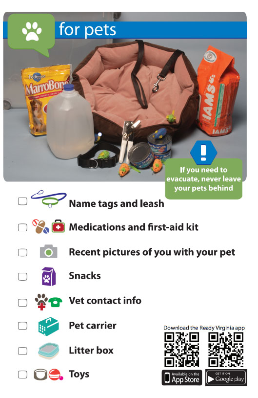 If you need to evacuate, never leave your pets behind!    Remember your pets when you are making your emergency supply kit. You should have your pets name tags, leash, medications, a recent photo of you with your pet, snacks, water, vet contact info, a pet carrier, a litter box, and toys.