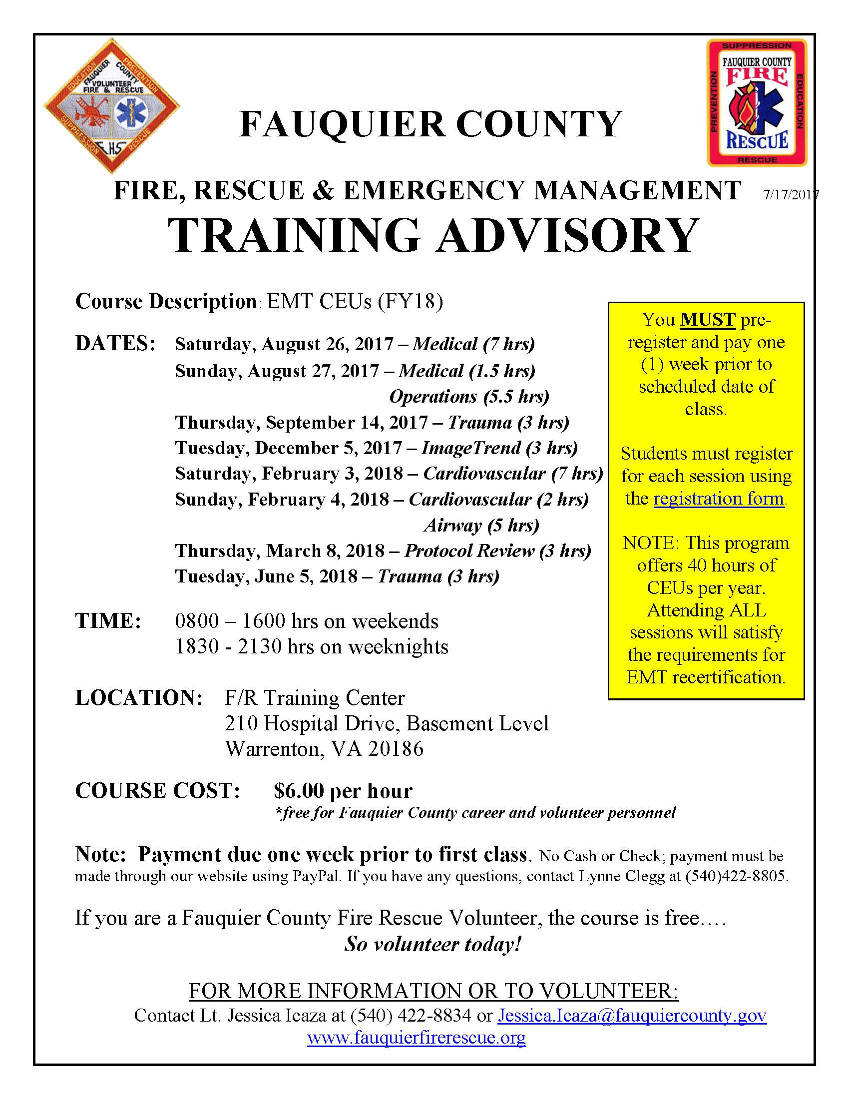 Fauquier county fire rescue fauquier ems training note attending all sessions within a one year time period will satisfy the requirements for emt recertification 40 hours 1betcityfo Gallery