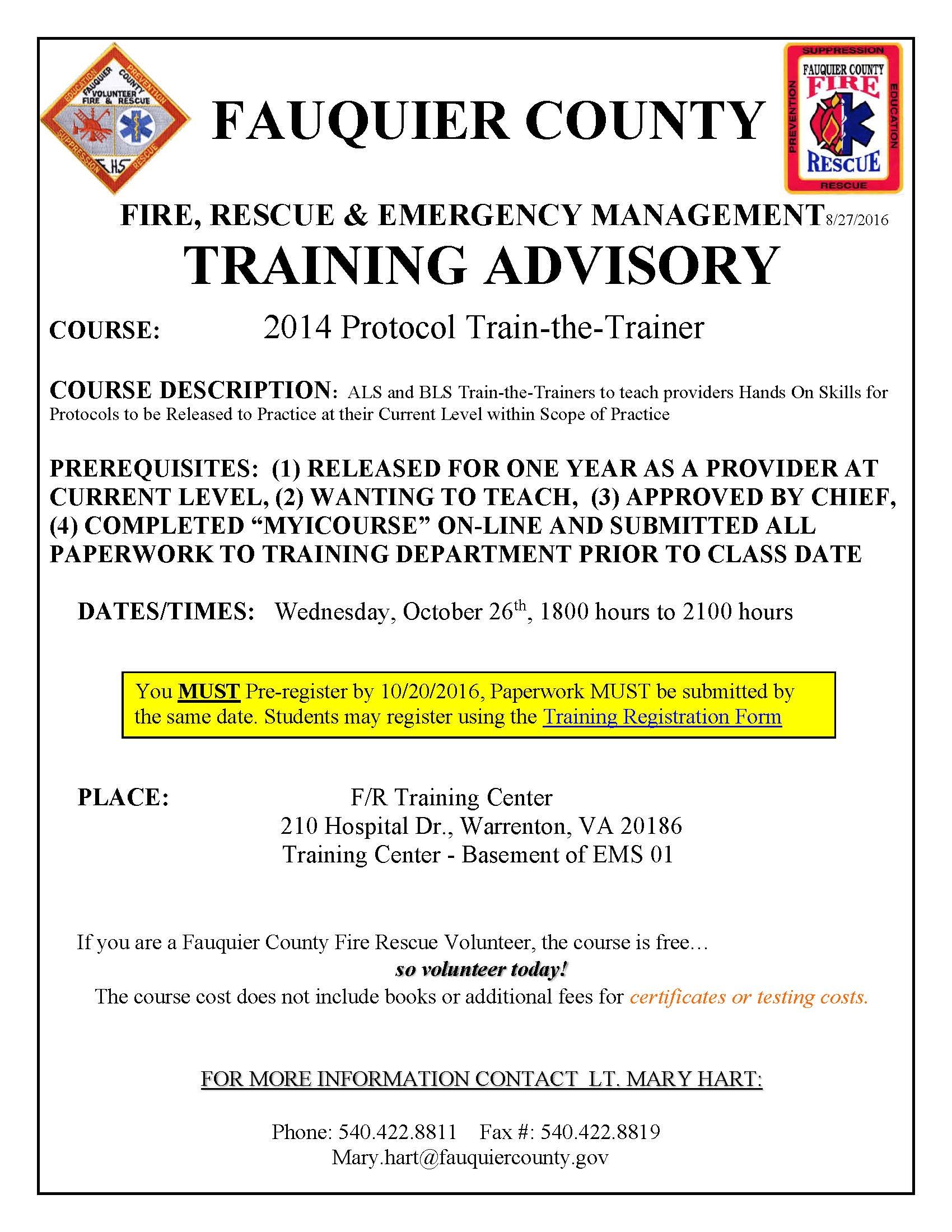 Fauquier county fire rescue fauquier ems training wednesday october 26 2016 1betcityfo Gallery