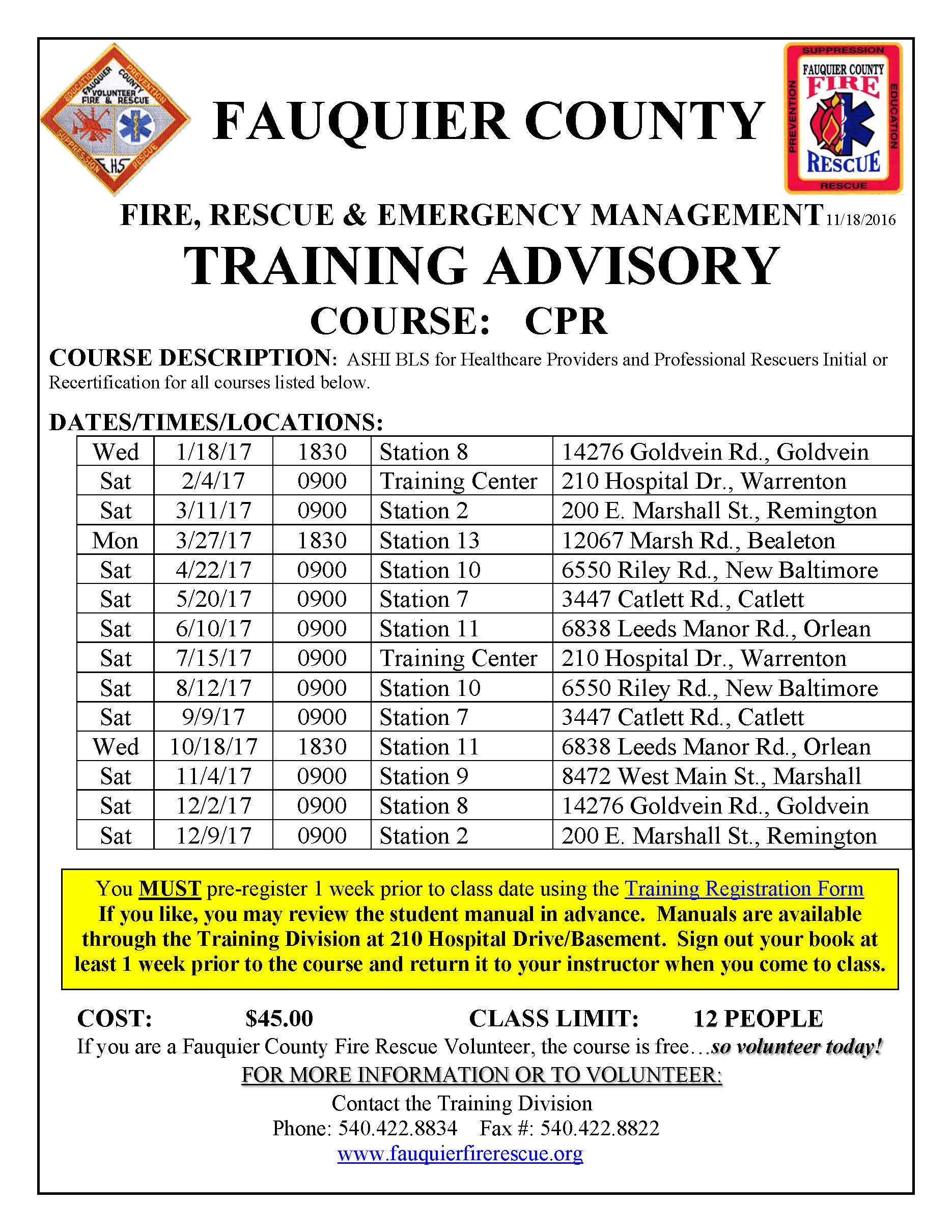 Fauquier county fire rescue fauquier ems training ashi 2017 cpr course listing xflitez Choice Image