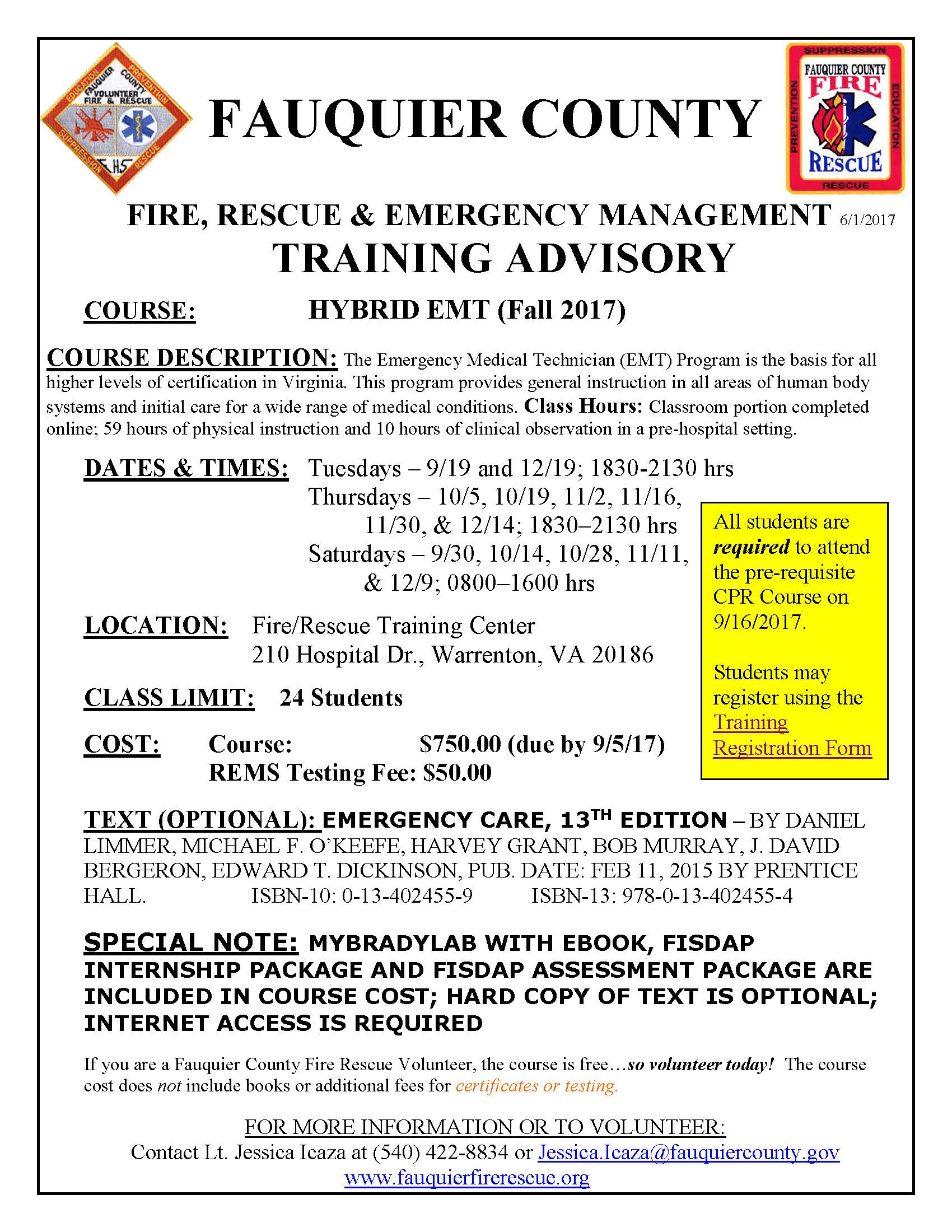 Fauquier county fire rescue fauquier ems training schedule fire rescue training center xflitez Choice Image
