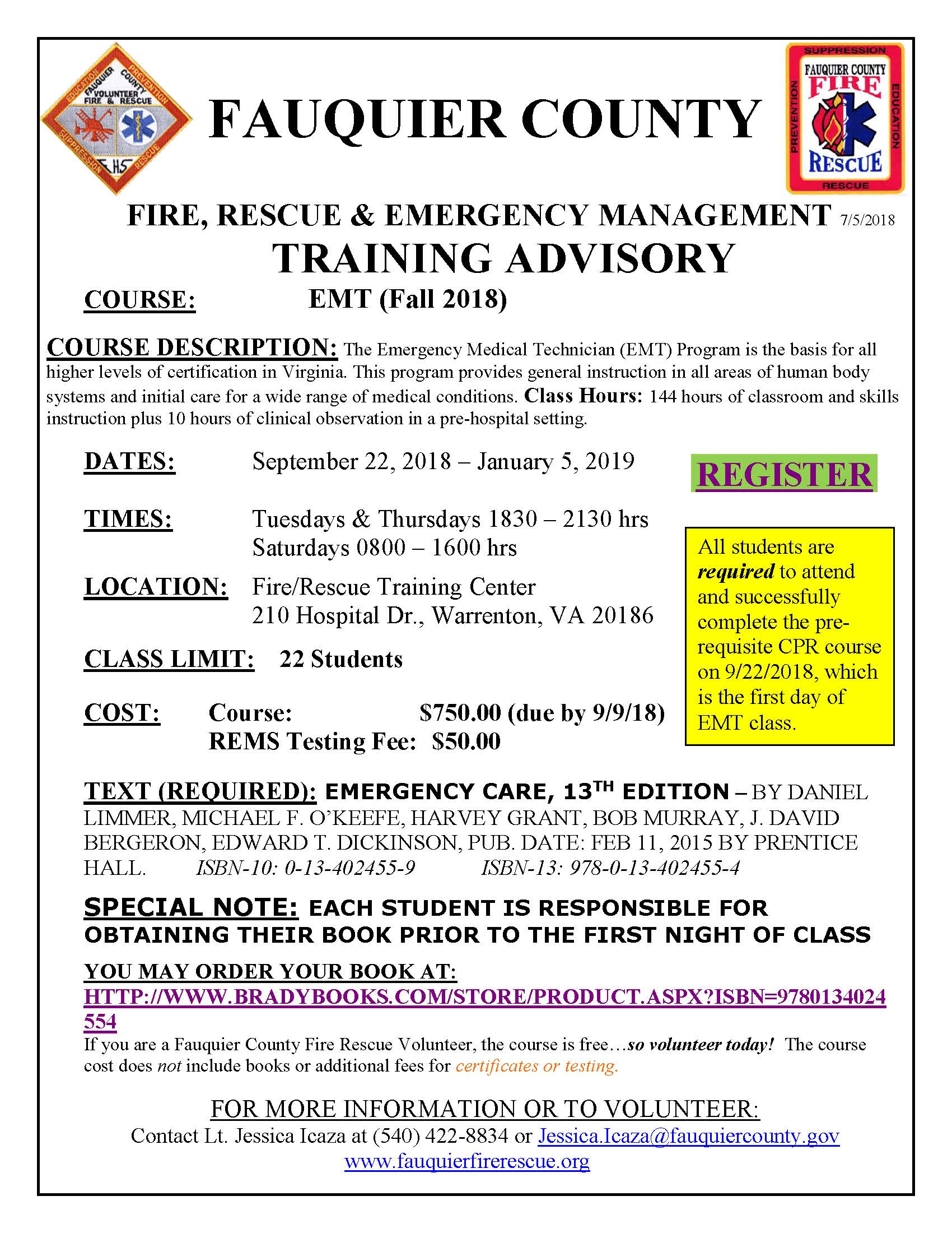 Fauquier county fire rescue fauquier ems training emt course fall 2018 september 22 2018 yelopaper Images