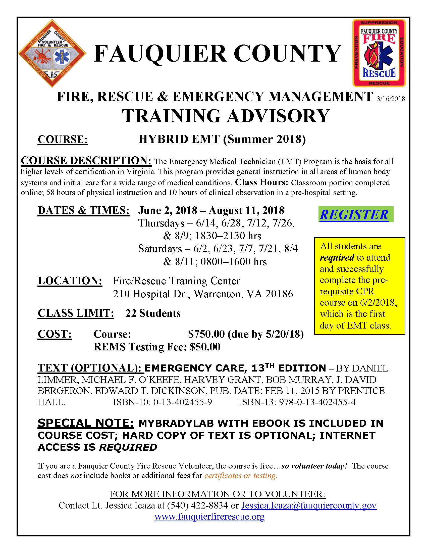 Fauquier county fire rescue fauquier ems training schedule yelopaper Images